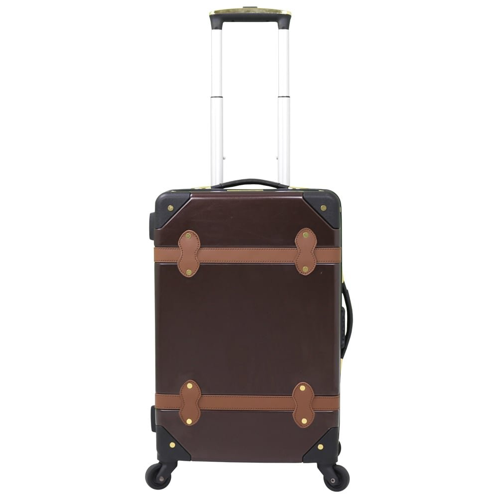 Earthy Vintage Solid Design Spinner Upright Lightweight Carry On Luggage, Featuring Geometric Rustic Stripes Pattern, Hardside, Multi Compartment, Hard Travel Elegant Suitcase, Black, Brown, Size 20'' by S & E