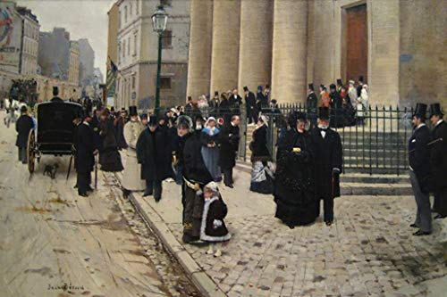 ArtParisienne Sunday at The Church of Saint-Philippe-du-Roule Paris Jean Béraud 32x48-inch Wall Decal ()