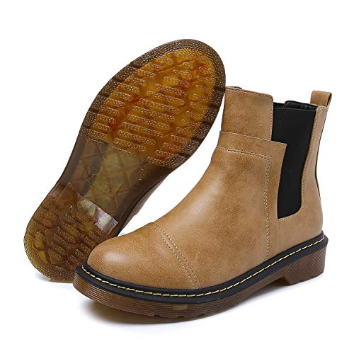 Smilun Kids¡¯s Chelsea Ankle Chelsea Boots Flats Low Heel with Block Western Chunky Heel Chelsea Boots for Kids Brown US6 by Smilun (Image #7)