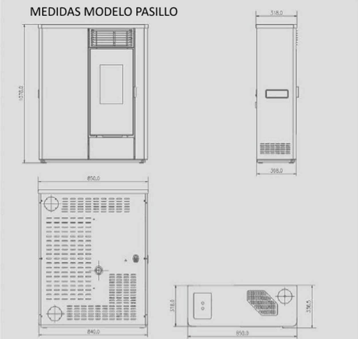 ECOMONT Estufa DE PELLETS DE Pasillo CANALIZABLE Doble TURBINA Blanco 12,5 KW: Amazon.es: Hogar