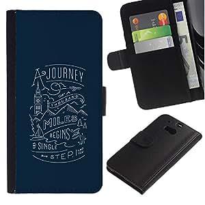 A-type (Mensaje Viaje Mil millas de Londres) Colorida Impresión Funda Cuero Monedero Caja Bolsa Cubierta Caja Piel Card Slots Para HTC One M8