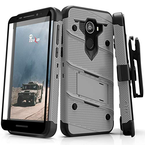 Jitterbug Smart2 Heavy Duty Case Military Grade Holster Belt Clip Phone Cover with Kickstand 12 ft Drop Tested w/Tempered Glass Screen Protector Compatible Greatcall Smart 2 (2018) (Grey)