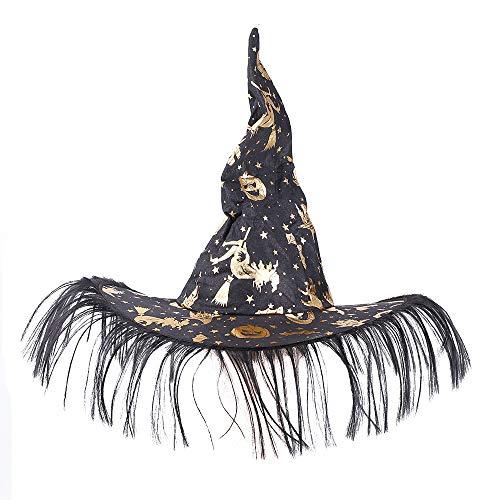Rabbitgoo Unisex Halloween Costume Pumpkin Printed Witch Hat, Black & Gold ()