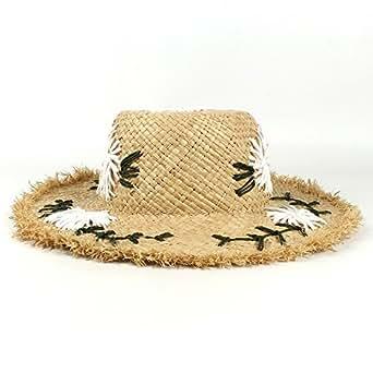 XueQing Pan Handmade Raffia Straw Women Sun Hats Summer Lady Wide Brim Beach Hat (Color : Natural, Size : 56-58CM)