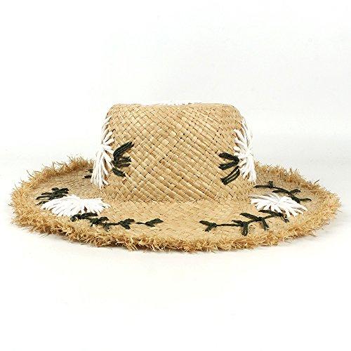 Womens Handmade Raffia Straw Sun Hats Summer Lady Wide Brim Beach Hat, by jdon-hats, (Color : Natural, Size : 56-58CM)