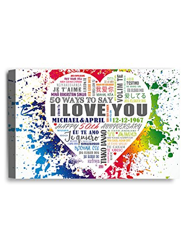 IPIC - 50 ways to say I love you. Personalized Canvas Print Artwork for Anniversary and Wedding gifts; 7#P (18x12