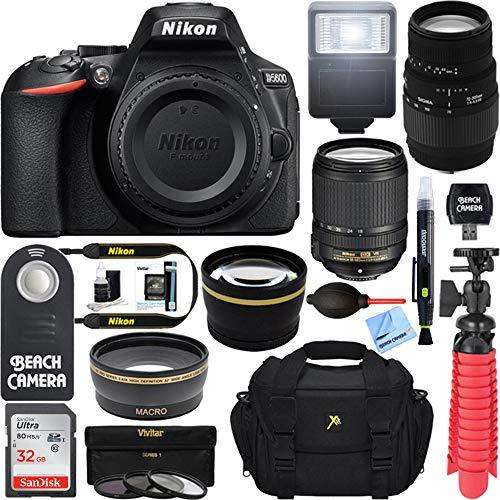 Nikon D5600 24.2MP DX-Format DSLR Camera + AF-S 18-140mm ED VR & Sigma 70-300mm Macro Telephoto Lens + Accessory Bundle For Sale
