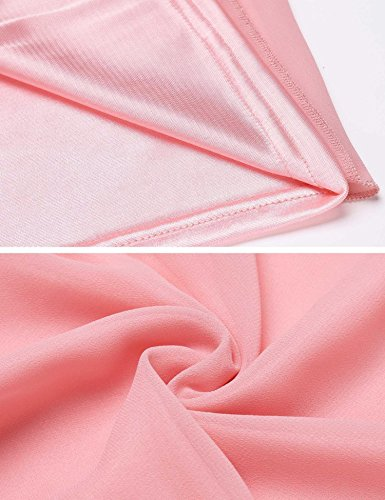 Belt Vintage Women's Halter Chiffon with Pink A Dress Loose line Pleated ACEVOG 6UqSq