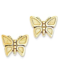 IceCarats 14k Yellow Gold Butterfly Post Stud Earrings Animal