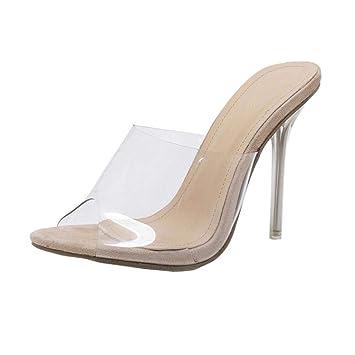 Qiusa Moda Mujer Sandalias Zapatos Partido Cristal Transparente Tacón Alto Stiletto Slipper (Color : Caqui, tamaño : 3 UK): Amazon.es: Hogar