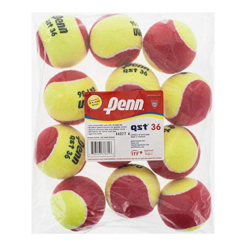 Penn QST 36 Tennis Balls - Youth Felt Red Tennis Balls for Beginners, 12 Ball -