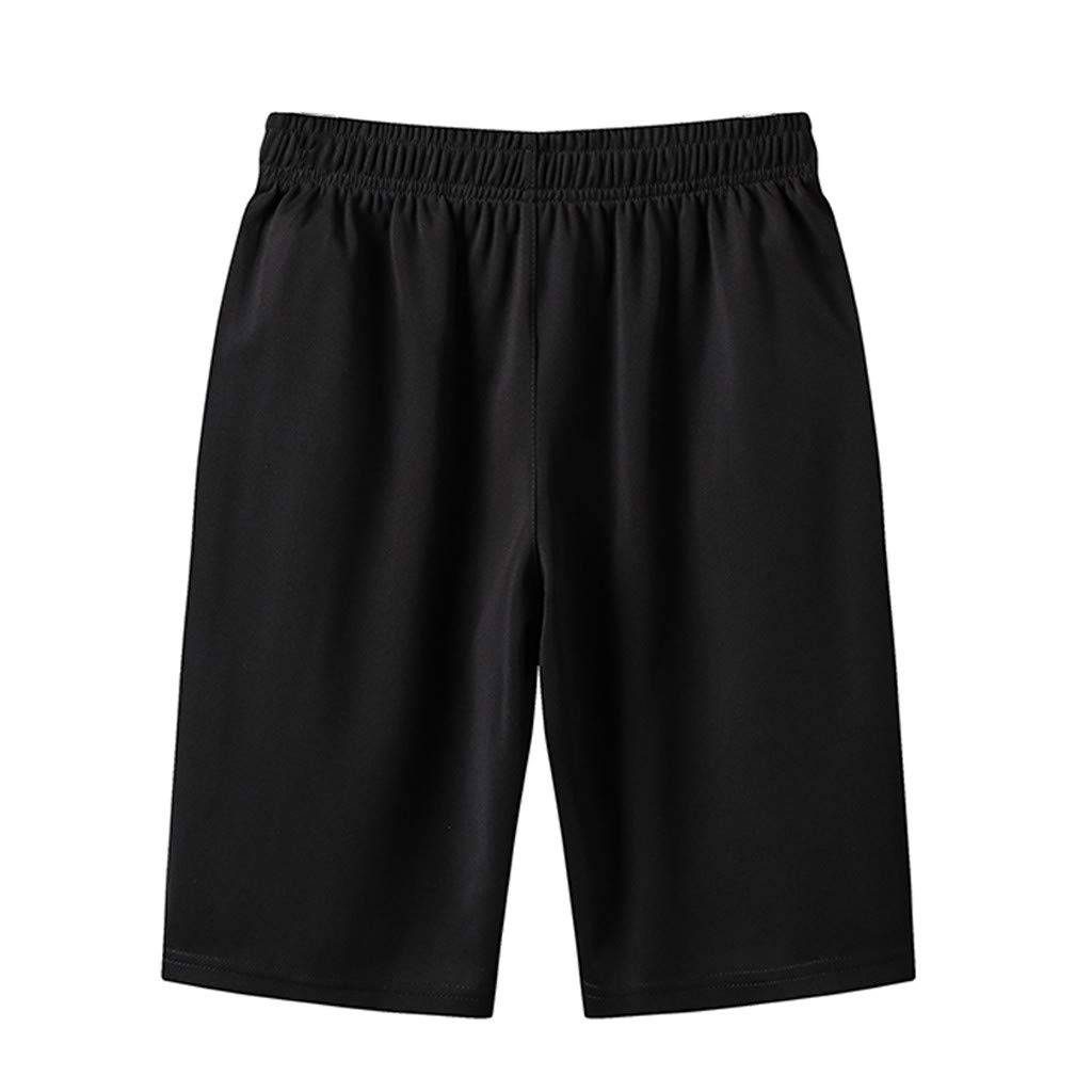 NUWFOR Men's Summer Plus Size Thin Fast-Drying Beach Trousers Casual Sports Short Pants(Black,US S Waist:31.5'') by NUWFOR (Image #3)