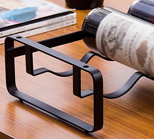 GRLJJ Botellero, Estante del Vino Estante del Vino Negro del Arte del Hierro Apilable Botella de Vino Estante de Almacenamiento Longitud 41.5 x Anchura 20.4 ...