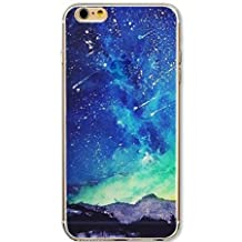 Apple iPhone 5 5S Case,Vandot Popular Fashion Luxury Colorful Printing Ultra Slim Thin Protective Pattern With Soft TPU Silicone Bumper+Hard PC Matte Transparent Back Cover,Unique Design Landscape Bling Shiny Blue Meteor Star