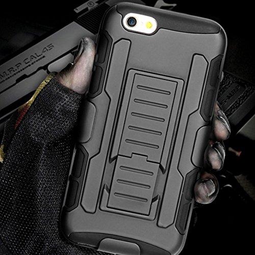 Panzerhülle iPhone 6 | Panzer Outdoor Hülle Tasche Case | 3-teilig mit Front Abdeckung und Gürtelclip | Für iPhone 6 und 6s | Schwarz