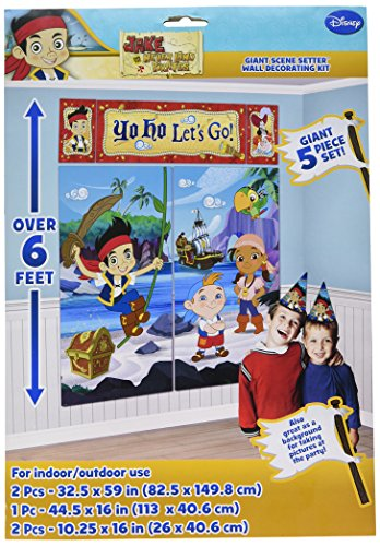 Disney Junior Jake and the Neverland Pirates Scene Setter Wall Decorations Kit - Kids Birthday and Party Supplies Decoration (Jake The Neverland Pirate Party Supplies)