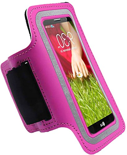 """myLife Pretty Lipstick Pink {Rain Resistant Velcro Secure Running Armband} Dual-Fit with Key Slot Jogging Arm Strap Holder for LG G3 """"All Ports Accessible"""""""