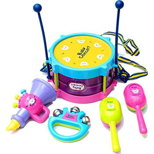 Zhibek Toddler Musical Instruments Toys, 5 Pcs Kids Drum Set, Boys Girls Roll Drum Trumpet Handbell Set Learning Gift…