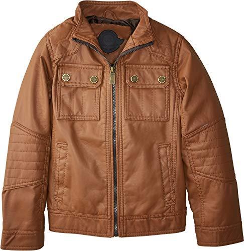 Urban Republic Kids Boy's Chadwick Faux Leather Bikers Jacket Quilted Shoulders (Little Kids/Big Kids) Cognac -