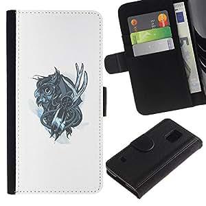 NEECELL GIFT forCITY // Billetera de cuero Caso Cubierta de protección Carcasa / Leather Wallet Case for Samsung Galaxy S5 V SM-G900 // Mechanich Búho