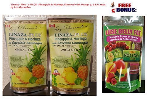 Amazon.com: Linaza-Plus-2-PACK-Pineapple & Moringa Flaxseed with Omega 3, 6 & 9, 16oz.: Health & Personal Care