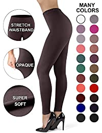 Satina High Waisted Leggings for Women | New Full Length + Stretch Waistband | 22 Colors | One Size & Plus Size