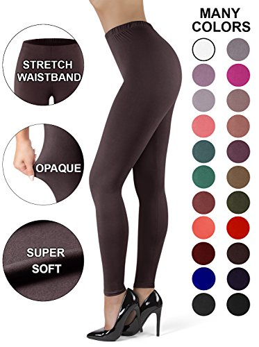 High Waisted Leggings for Women | Full Length w/Stretch Waistband | Ultra Soft Opaque Non See Through Super Soft Leggings (OneSize, Brown) ()