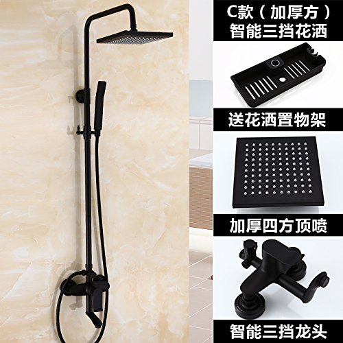 ETERNAL QUALITY Bathroom Sink Basin Tap Brass Mixer Tap Washroom Mixer Faucet Black boost shower set bathroom Dumb black shower antique-brass faucets can lift C, thick sq