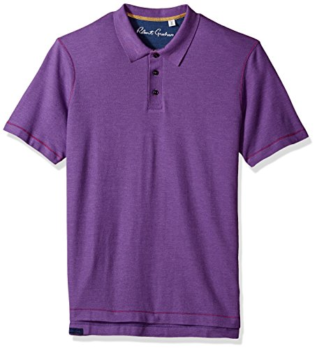 Robert Graham Men's Short Sleeve Classic Fit Jersey Model Polo, Heather Violet, Large