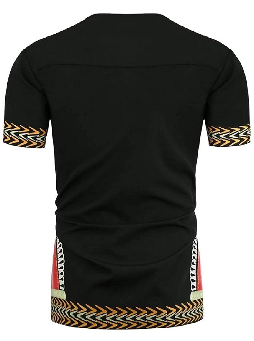 Sweatwater Mens Top All-Match Long Sleeve Africa Tee Print T-Shirts