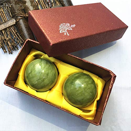 YIEASDA Green Jade Ball, 2 Pack Chinese Health Stress Exercise Release Balls Massage Natural ()