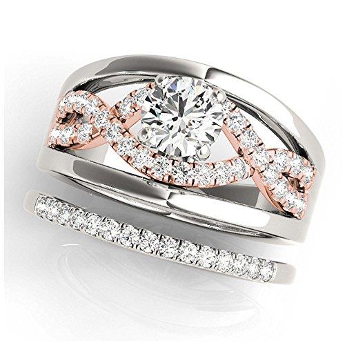 14K White Gold Unique Wedding Diamond Bridal Set Style MT50910