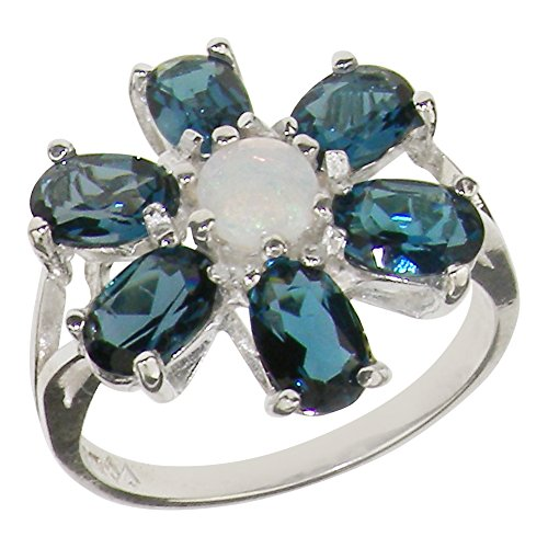 925 Sterling Silver Natural Opal & London Blue Topaz Womens Cluster Ring - Sizes 4 to 12 Available