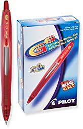 Pilot G6 Retractable Gel Ink Rolling Ball Pen, Fine Point, Red Ink, Dozen Box (31403)