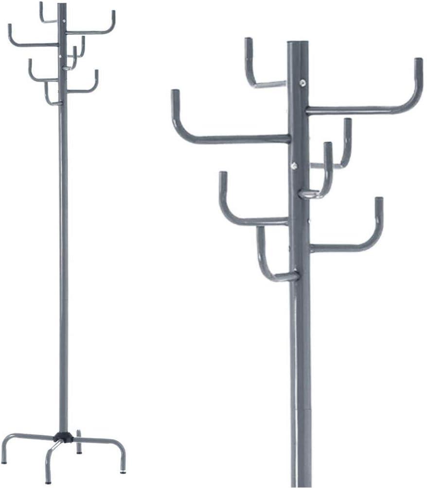 Silver BAKAJI Attaccapanni Appendiabiti Design Moderno a Piantana da Terra in Metallo con 8 Ganci Appendi Abiti e Base a Croce Dimensione 40 x 40 x 183 cm Arredamento Ingresso Casa