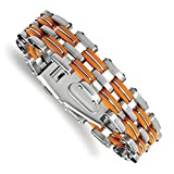 ICE CARATS Stainless Steel Orange Rubber 8 Inch Bracelet Cord Leatrubber Man Link Fashion Jewelry Gift Set For Women Heart