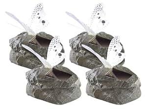 Lunartec–Lámpara LED solar de mariposa sobre piedra artificial gris, 4unidades)