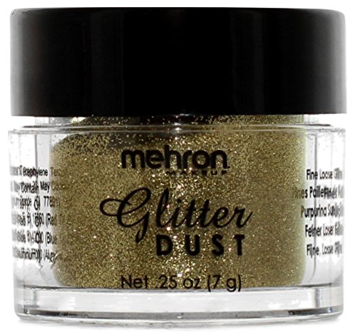 Mehron Makeup Glitter Dust Face & Body Paint, GOLD- .25oz