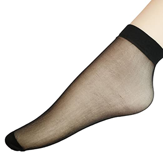 PinkBTFY 10 Pairs Womens Ankle High Sheer Socks Sexy Ultrathin Short Ankle Socks Black