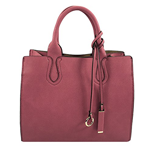 'della' Designer Inspired Dusty Pink Top Handle Handbag By Inzi In-6697pk