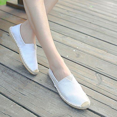 Canvas Shoes A on Shoes Slip for 12 Unisex US Breathable 5 Loafers Size Men New Espadrilles Flats Women beige 58qwagxC1