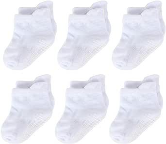 LACOFIA 6 Pares calcetines antideslizantes para bebés Conjunto de calcetines de suelo de algodón transpirable para bebé