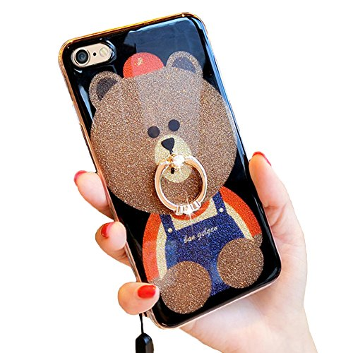 Price comparison product image iPhone 6 Plus Glitter Case, 3D Teddy Bear Brown iPhone 6s Plus Bling Cute Soft Silicone Rubber Protective Case for Girls Finger Ring Stand (Ring Bear 1)