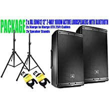 """PACKAGE! 2 x JBL EON612 12"""" 2-WAY 1000W ACTIVE LOUDSPEAKERS WITH BLUETOOTH + 2x SPEAKER STANDS +2x XLARGE TO XLARGE XTX 25FT CABLES"""