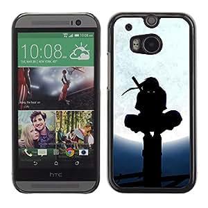Qstar Arte & diseño plástico duro Fundas Cover Cubre Hard Case Cover para HTC One M8 ( Ninja Black Mask Fighter Warrior Martial Arts)