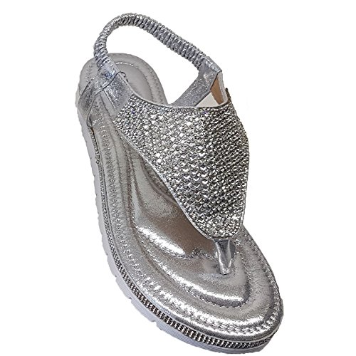 Faux Toe Gem Diamante Sandals Ladies Boutique Silver Post Thong Leather Slingback Fantasia Fashion nxZXT0w