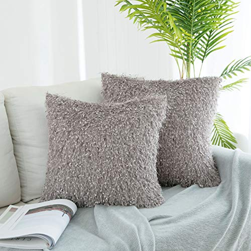 Set Fabric Tassel (UGASA Decorative Square Throw Pillow Covers Set Tassels/Velvet Cushion Case Sofa/Bedroom/Car, Set of 2, 20x20 Inch, Deauville Mauve)