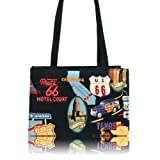 US HANDMADE FASHION ROUTE 66 ROCKABILLY RETRO 50's Pattern Handmade handbag purse COTTON fabrics, BX 3152
