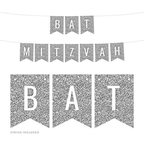 Andaz Press Faux Silver Glitter Party Banner Decorations, Bat Mitzvah, Approx 5-Feet, 1-Set, Colored Hanging Pennant Decor]()