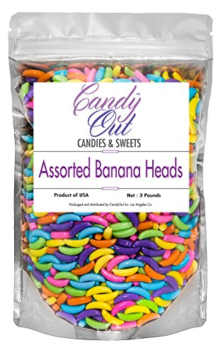 CandyOut Assorted Banana Candy 3 Pound Assorted Colors Banana Heads Candy in Stand Up Bag]()